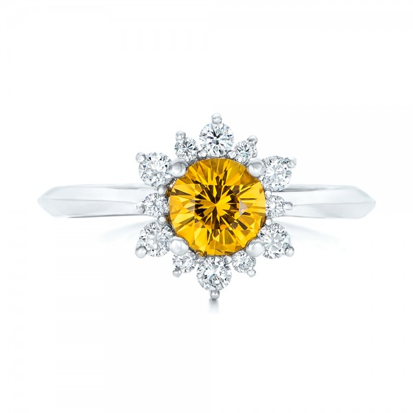 Diamond and Yellow Sapphire Engagement Ring - Top View -  1403 - Thumbnail