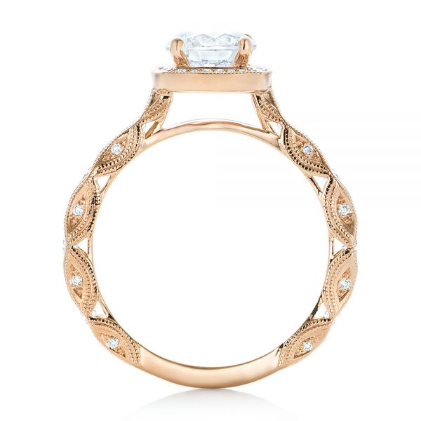 14k Rose Gold Custom Diamond In Filigree Engagement Ring - Front View -