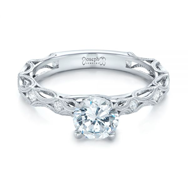 Platinum Platinum Custom Diamond In Filigree Engagement Ring - Flat View -