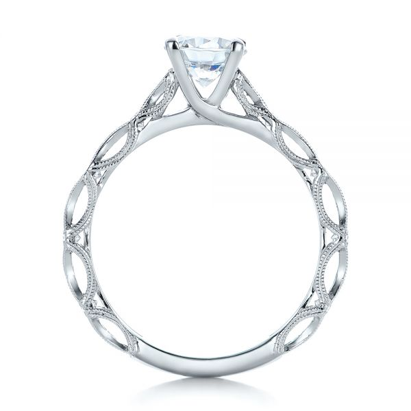 Platinum Platinum Custom Diamond In Filigree Engagement Ring - Front View -