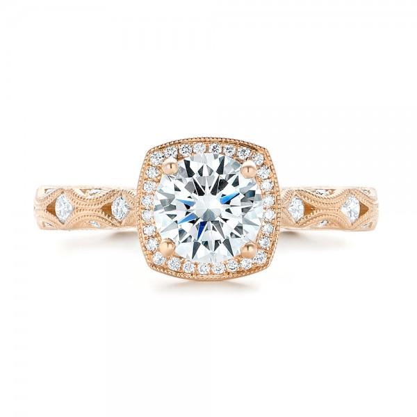 Custom Diamond in Filigree Engagement Ring - Top View