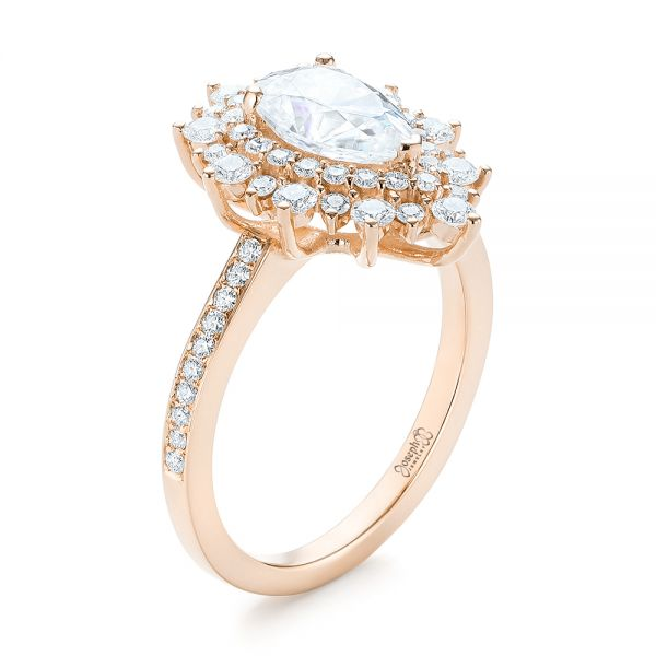 18k Rose Gold 18k Rose Gold Custom Double Halo Diamond Engagement Ring - Three-Quarter View -  103825