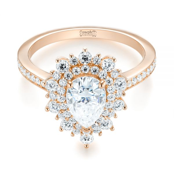 18k Rose Gold 18k Rose Gold Custom Double Halo Diamond Engagement Ring - Flat View -  103825