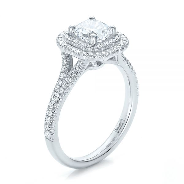 Custom Double Halo Diamond Engagement Ring - Image