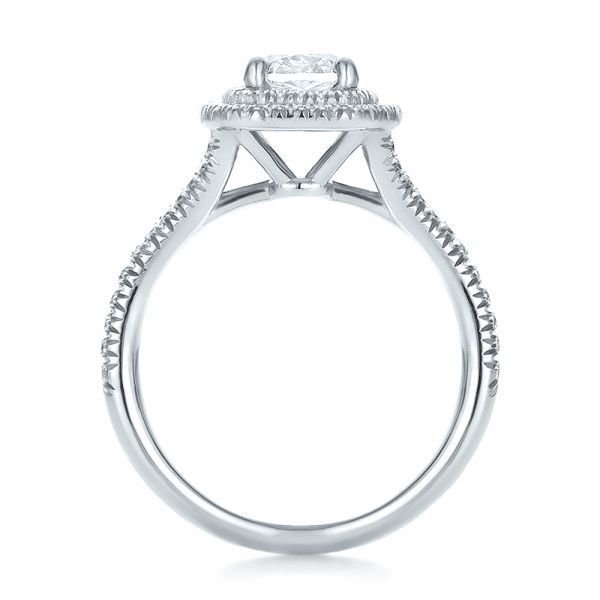 Platinum Custom Double Halo Diamond Engagement Ring - Front View -