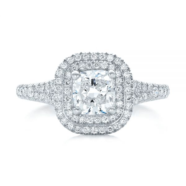 Platinum Custom Double Halo Diamond Engagement Ring - Top View -