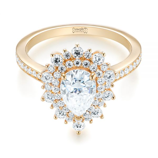 14k Yellow Gold Custom Double Halo Diamond Engagement Ring - Flat View -