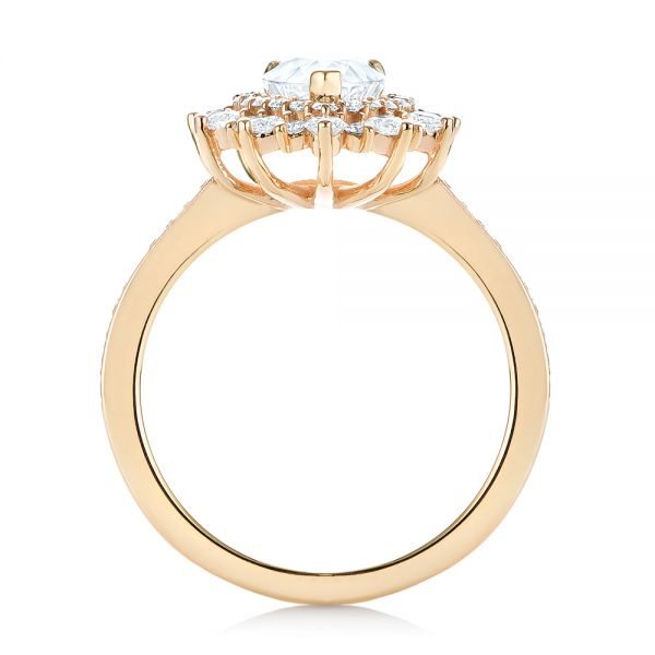 14k Yellow Gold Custom Double Halo Diamond Engagement Ring - Front View -