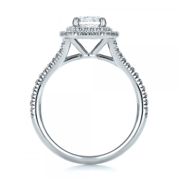 Custom Double Halo Diamond Engagement Ring - Finger Through View