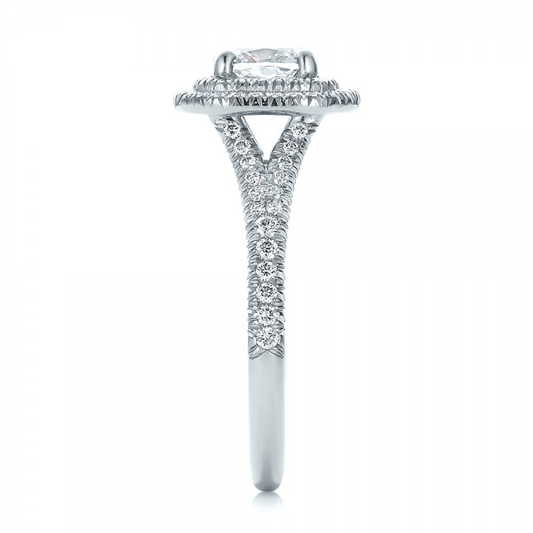 Custom Double Halo Diamond Engagement Ring - Side View