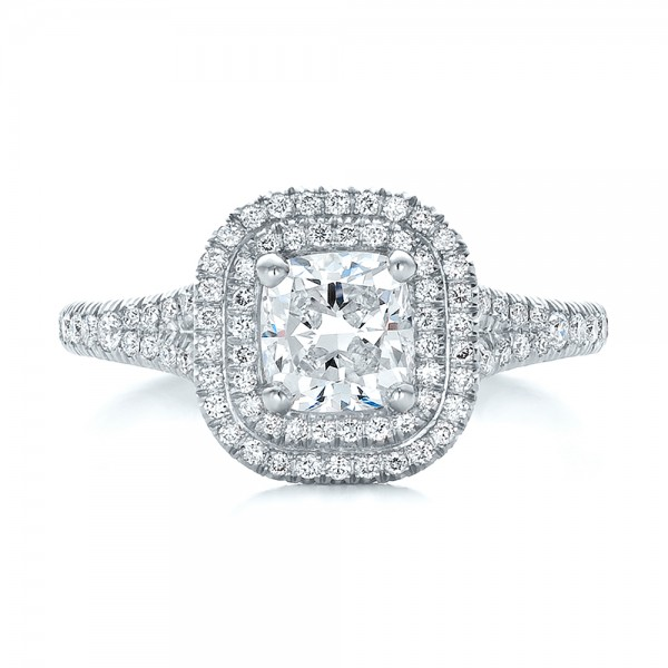 Custom Double Halo Diamond Engagement Ring - Top View