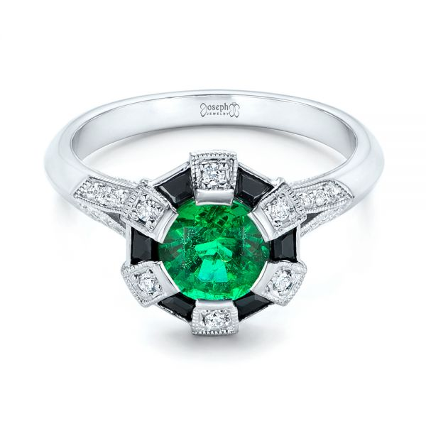 Custom Emerald, Black and White Diamond Engagement Ring - Flat View -  103208 - Thumbnail