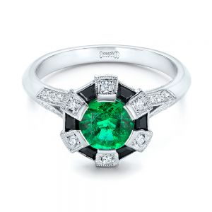 Custom Emerald, Black and White Diamond Engagement Ring