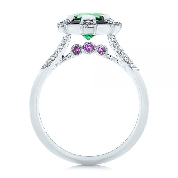 14k White Gold Custom Emerald Black And White Diamond Engagement Ring - Front View -