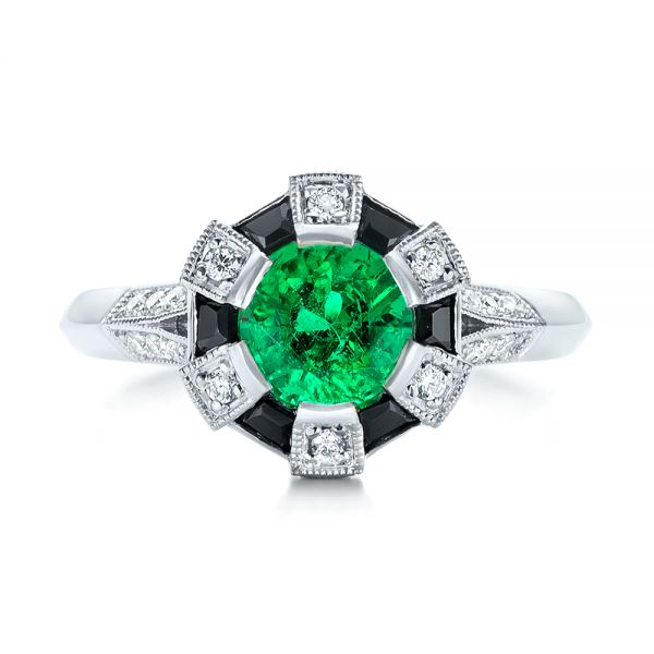 14k White Gold Custom Emerald Black And White Diamond Engagement Ring - Top View -