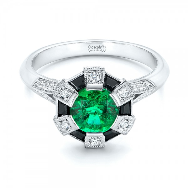 Custom Emerald, Black and White Diamond Engagement Ring - Laying View