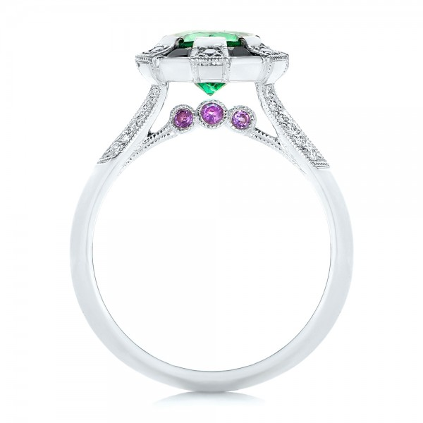 Custom Emerald, Black and White Diamond Engagement Ring - Finger Through View