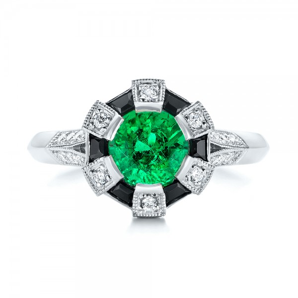 Custom Emerald, Black and White Diamond Engagement Ring - Top View