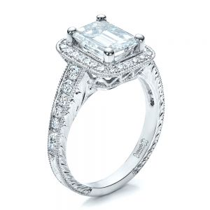 Custom Emerald Cut Diamond Engagement Ring - Image