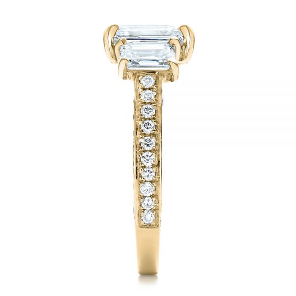 14k Yellow Gold 14k Yellow Gold Custom Emerald Cut Diamond Engagement Ring - Side View -  100723