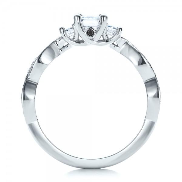 Custom Emerald Cut Diamond Engagement Ring - Finger Through View