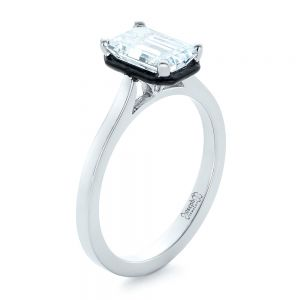 Custom Emerald Cut Diamond and Black Ceramic Engagement Ring - Image
