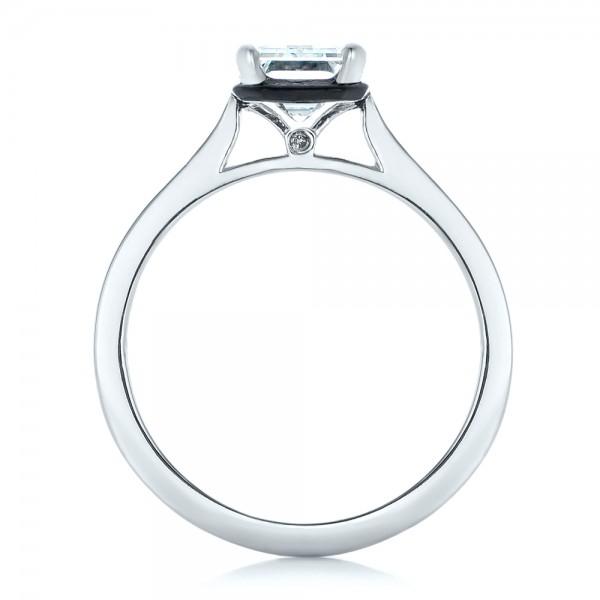 Custom Emerald Cut Diamond and Black Ceramic Engagement Ring - Finger Through View