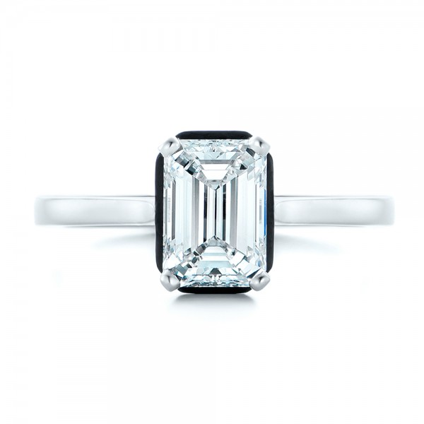 Custom Emerald Cut Diamond and Black Ceramic Engagement Ring - Top View