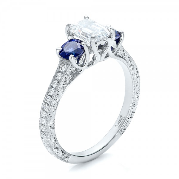 Custom Emerald Cut Diamond and Blue Sapphire Engagement Ring