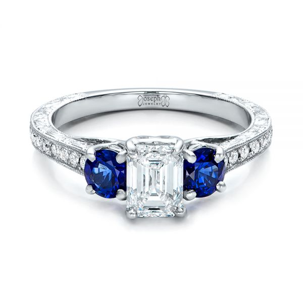 Custom Emerald Cut Diamond and Blue Sapphire Engagement Ring - Flat View -  101242 - Thumbnail