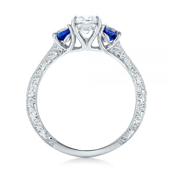 Custom Emerald Cut Diamond and Blue Sapphire Engagement Ring - Front View -  101242 - Thumbnail