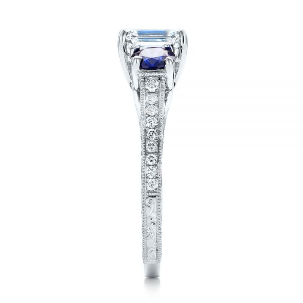 Custom Emerald Cut Diamond and Blue Sapphire Engagement Ring - Side View -  101242 - Thumbnail