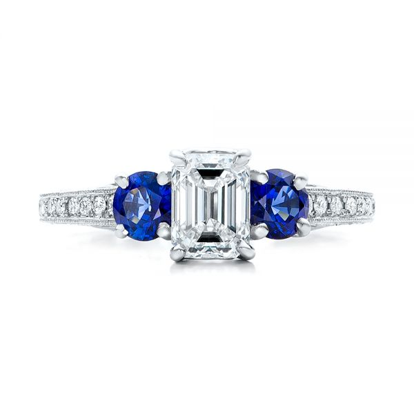 Custom Emerald Cut Diamond and Blue Sapphire Engagement Ring - Top View -  101242 - Thumbnail