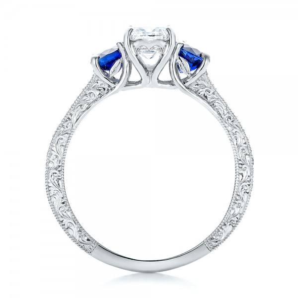 custom emerald cut and blue sapphire engagement ring