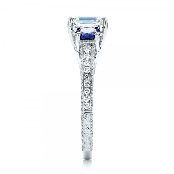 Custom Emerald Cut Diamond and Blue Sapphire Engagement Ring - Side View