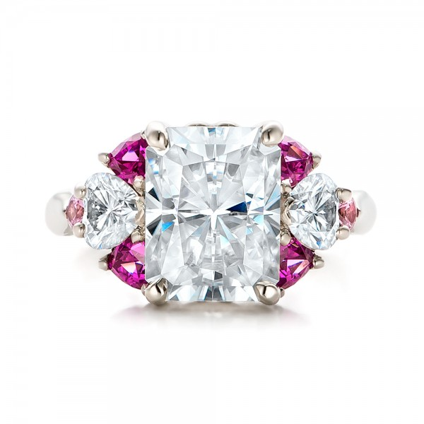 Custom Diamond and Pink Sapphire Engagement Ring - Top View