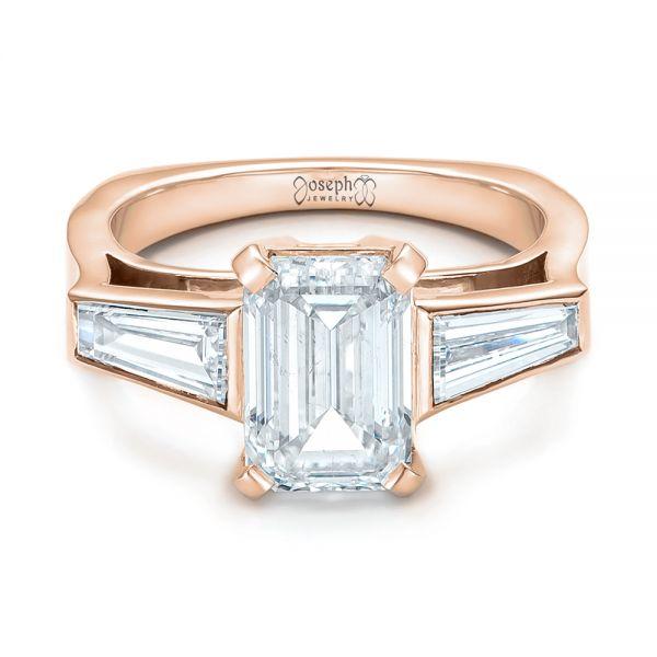 18k Rose Gold Custom Emerald Cut And Baguette Diamond Engagement Ring 101284 Seattle Bellevue Joseph Jewelry