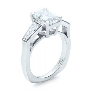 Custom Emerald Cut and Baguette Diamond Engagement Ring - Image