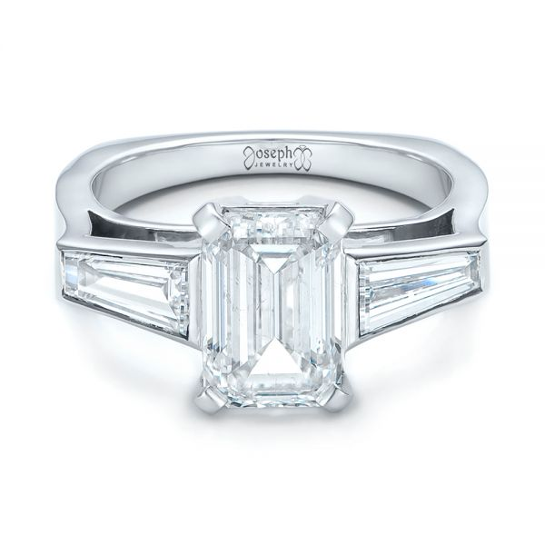 14k White Gold Custom Emerald Cut And Baguette Diamond Engagement Ring - Flat View -  101284