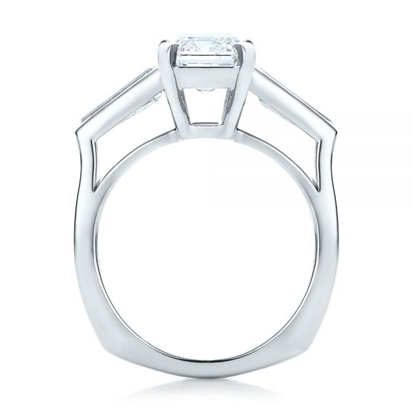 14k White Gold Custom Emerald Cut And Baguette Diamond Engagement Ring - Front View -  101284