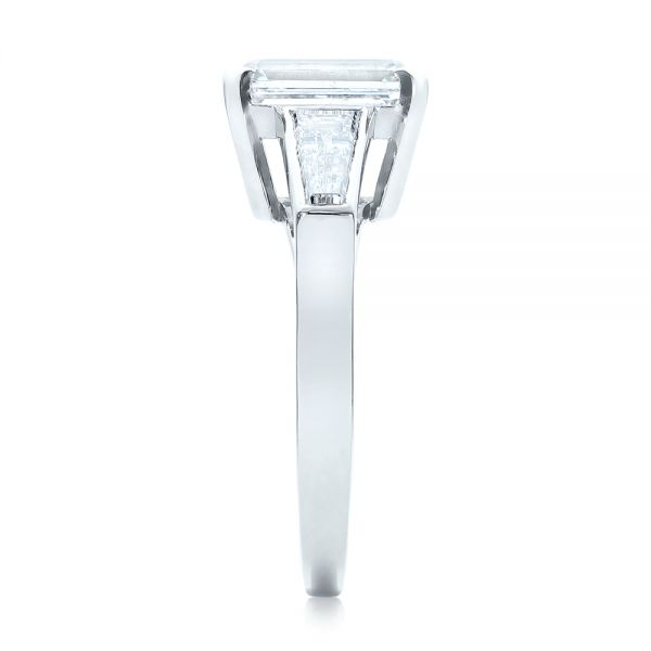Custom Emerald Cut and Baguette Diamond Engagement Ring - Side View -  101284 - Thumbnail