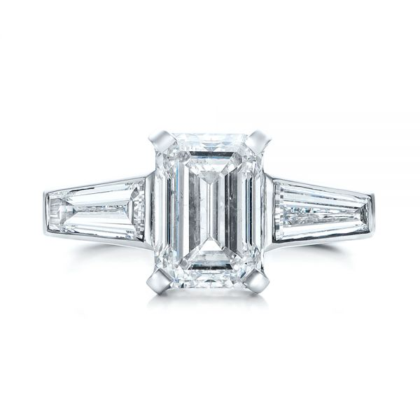 14k White Gold Custom Emerald Cut And Baguette Diamond Engagement Ring - Top View -  101284