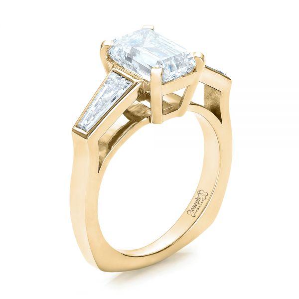 18k Yellow Gold Custom Emerald Cut And Baguette Diamond Engagement Ring 101284 Seattle Bellevue Joseph Jewelry