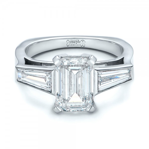 Custom Emerald Cut and Baguette Diamond Engagement Ring