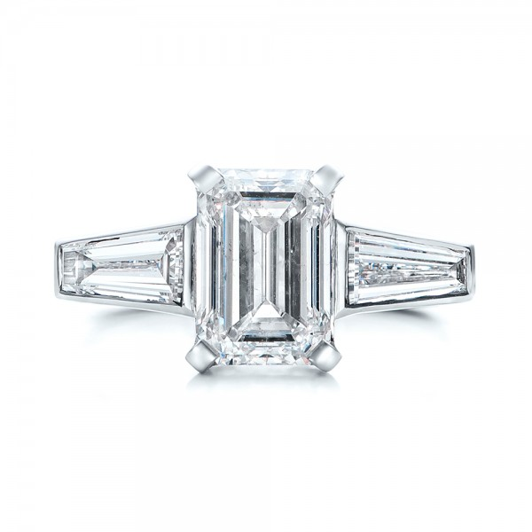 custom emerald cut and baguette engagement ring