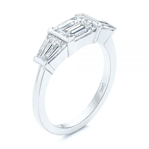 Custom Emerald Cut and Tapered Baguette Diamond Engagement Ring - Image