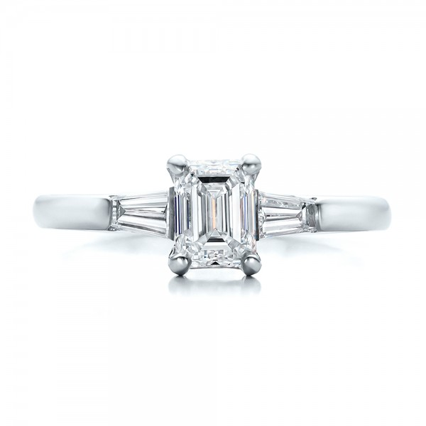 Custom Emerald and Baguette Diamond Engagement Ring - Top View