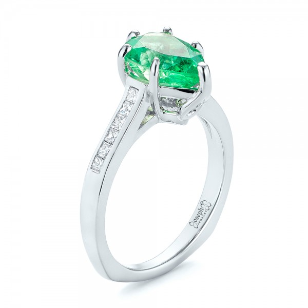 Custom Emerald and Diamond Engagement Ring - Image