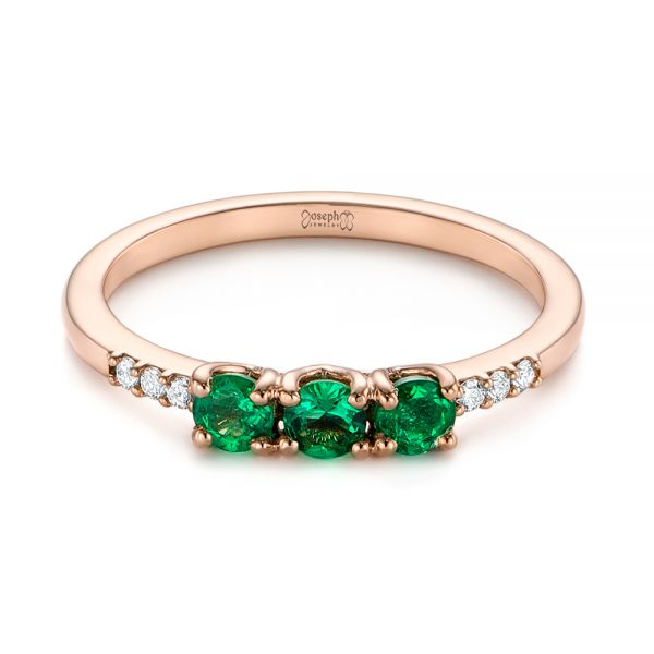 Custom Emerald and Diamond Engagement Ring - Flat View -  104032 - Thumbnail