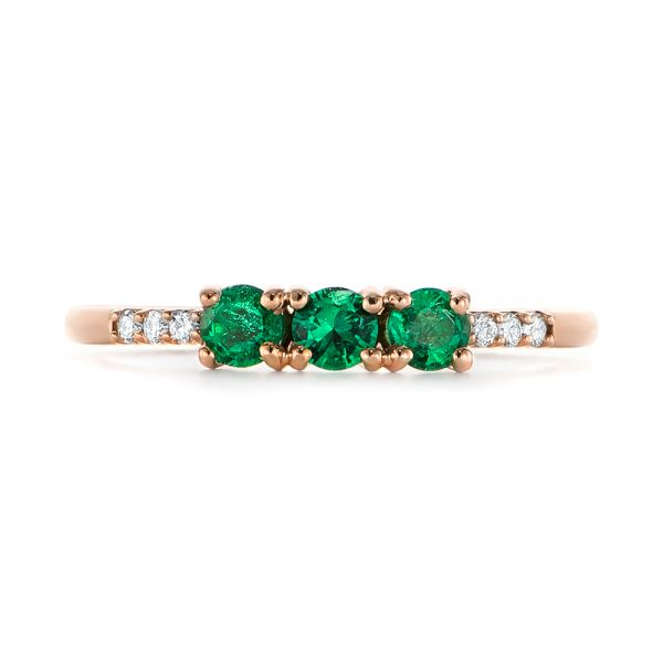 Custom Emerald and Diamond Engagement Ring - Top View -  104032 - Thumbnail